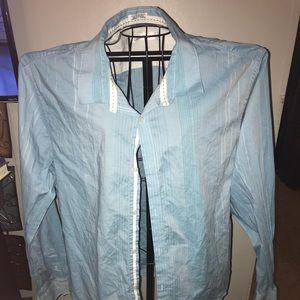 Calvin Klein Men's Blue Button Down Dress Shirt